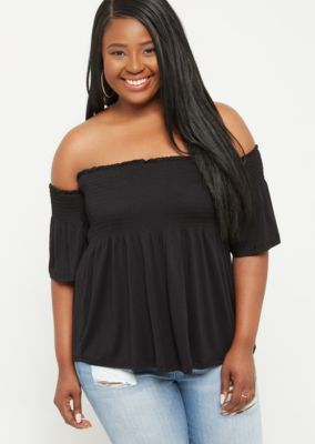plus-black-off-the-shoulder-smocked-top by rue21