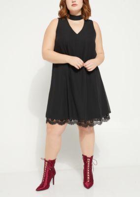 plus-black-choker-lace-trim-swing-dress by rue21