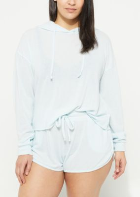 Plus Light Blue Hacci Knit Cropped Hoodie by Rue21