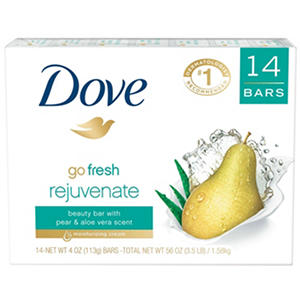 Dove Go Fresh Rejuvante Beauty Bar, Pear and Aloe Vera (4 oz., 14 ct.)