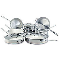 All Clad 14 PC Cookware Set Stainless Steel - Copper Core