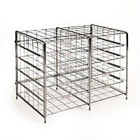 Seville Classics 12-Slot Chrome Desk Organizer Literature Rack