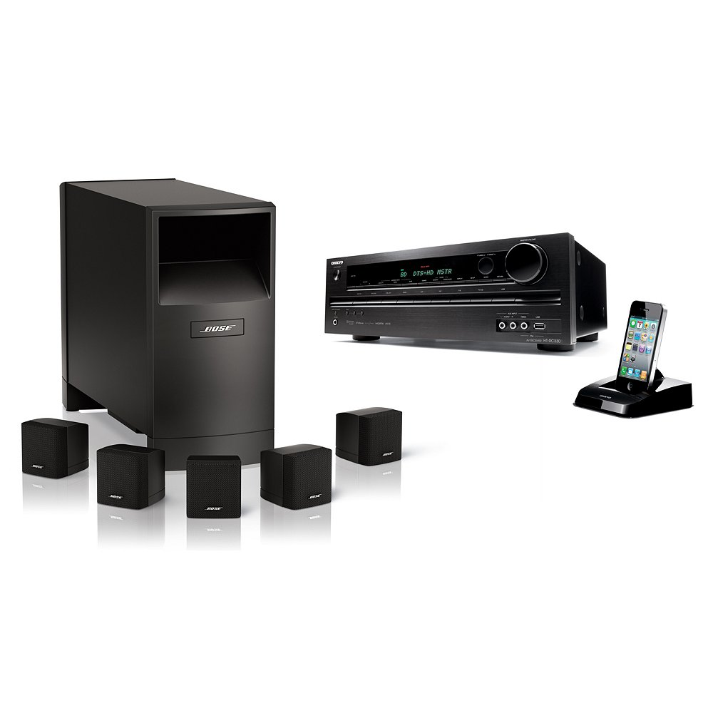 new bose home theater system acoustimass series iii 6 speakers onkyo ht rc330 ebay. Black Bedroom Furniture Sets. Home Design Ideas