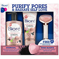 Biore Rose Quartz Charcoal Cleanser and Exfoliating Scrub, with Facial Roller