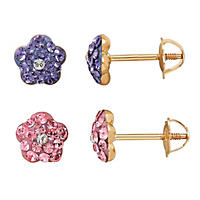 Children's Flower Earring Set with Swarovski Crystal in 14K Yellow Gold