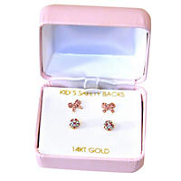 14K Gold Kids Crystal Earrings