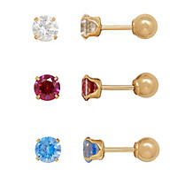 14K Yellow Gold Clear, Blue & Red Crystal Studs (3 Pairs)