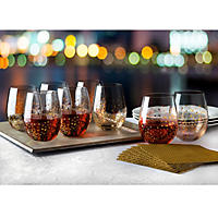 (Free Shipping)Shannon Crystal Gold Luxe Stemless Wine Goblets, Set of 8