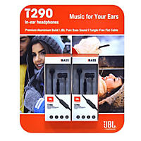 JBL T290 Premium Aluminum 2-pack, In-Ear Headphone with Tangle Free Flat Cord and In-Line 1-Button Remote - Black