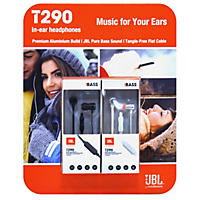 JBL T290 Premium Aluminum 2-pack, In-Ear Headphone with Tangle Free Flat Cord and In-Line 1-Button Remote - One Black/One Silver