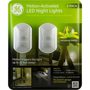 ge motion sensing led night lights with chrome finish 2 pack auctions. Black Bedroom Furniture Sets. Home Design Ideas