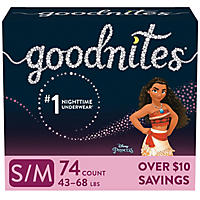 GoodNites Bedtime Underwear for Girls, 74 Count - Small/Medium