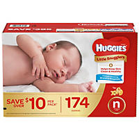 Huggies Little Snugglers Diapers, Newborn - Up to 10 lbs. (174 ct.)