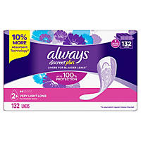 Always Discreet Incontinence Liners, Very Light Absorbency, Long Length (132 ct.)