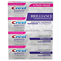 Crest 3D White Brilliance Toothpaste, Vibrant Peppermint (4.1 oz., 4 pk.)