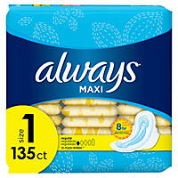 Always Maxi My Fit Regular Pads With Wings, Unscented, Size 1 (135 ct.)