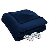 Serta Perfect Sleeper Luxury Plush Queen Heated Blanket - Navy