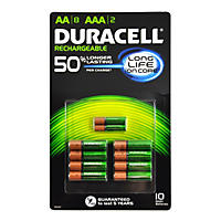 (Free Shipping)Duracell Rechargeable Batteries Assortment Pack AA 8 Count, AAA 2 Count