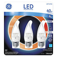 GE Clear Bent Tip Medium-Base Decorative LED Light Bulbs (3-pack)
