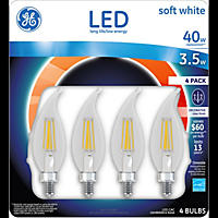 GE LED 3.5W (40W Equivalent), Clear Finish Decorative Small Base Light Bulb (Soft White, 4 pk.)