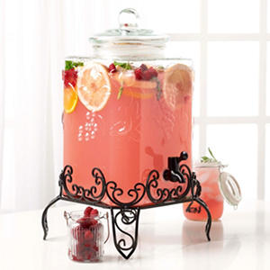 Tabletops Gallery 4.75 Gallon Glass Drink Dispenser with Stand - Fruit Embossed