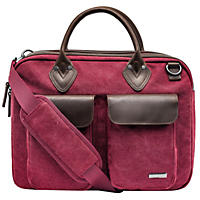 Renwick Canvas Briefcase with Genuine Leather Trim, Maroon