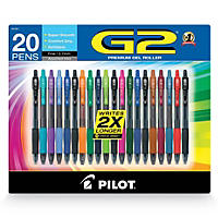 Pilot G2 Assorted Colors Gel Pen, 20 Ct