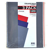 (Free Shipping)Top Flight Wired 3-Subject Wirebound Notebooks, 3 pack