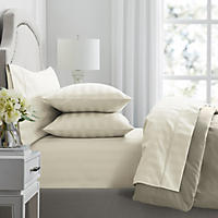 California King – 650 Thread Count Sheet Set, Ivory/Thick Stripe