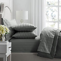 California King – 650 Thread Count Sheet Set, Grey/Thick Stripe