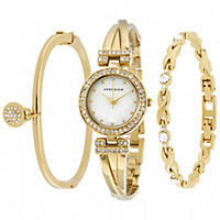 Anne Klein Women's Gold-Tone Bracelet Watch Set 24mm
