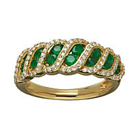 Emerald Ring .19TW Diamond in 14K Yellow Gold