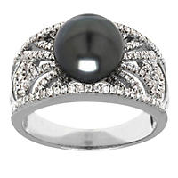 Size 7 - Tahitian Pearl and Diamond Ring