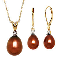 Brown Pearl Pendant and Earring Set in 14K Yellow Gold