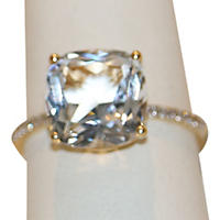 White Topaz Ring with Diamond Accent in 14K Yellow Gold