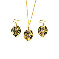 Diamond-Cut Leaf Earring and Necklace Set in 14K Yellow Gold