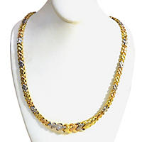 14K Tri-Color Gold Woven X Link Necklace with Satin Finish
