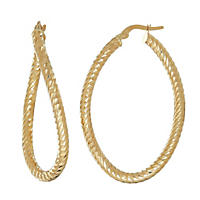 14K Italian Gold 3mm Twisted Oval Hoop
