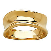 Italian 14K Yellow Gold Concave Ring - Size 7