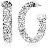 Mesh Hoop Earrings in 14K White Gold