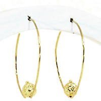 Hoop and Bead Earrings in 14K Yellow Gold