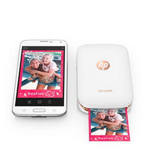HP Sprocket Photo Printer - White (with Bonus Pack of Zink Photo Paper - 20 Sheets)