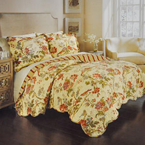 Charleston Chirp Floral Quilt Bedding Set By Waverly King