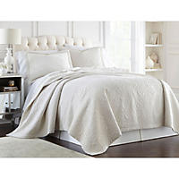 Lenox Quilted 3-Piece Coverlet Set, King (Ivory Damask)