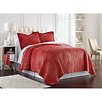 Lenox Quilted 3-Piece Coverlet Set, King (Red Medallion)