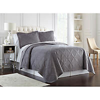 Lenox Quilted 3-Piece Coverlet Set, King (Grey Diamond)