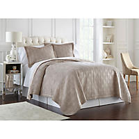 Lenox Quilted 3-Piece Coverlet Set, Queen (Taupe Ogee)