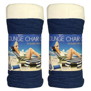 Beach Towel Lounge Chair Cover   Blue U0026 White