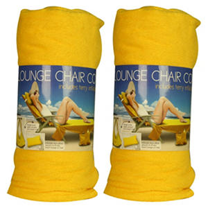 Beach Towel Lounge Chair Cover   Yellow