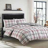 Eddie Bauer 3-Piece Reversible King Comforter Set, Burgundy/Gray Plaid